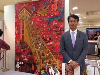 1973年 ルーブル美術館で日本人として初めてモナ・リザを公認模写して以来 故郷の命の色・赤を基調に風土 歴史 伝承 人々を描き続けていらっしゃいます   西部岡崎店で初開催 30日(火)までの会期です 岡崎の各地やイベントが描かれていて興味を惹かれますよ